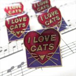 バレンタイン  ヴィンテージピンズ I LOVE CAT ハート