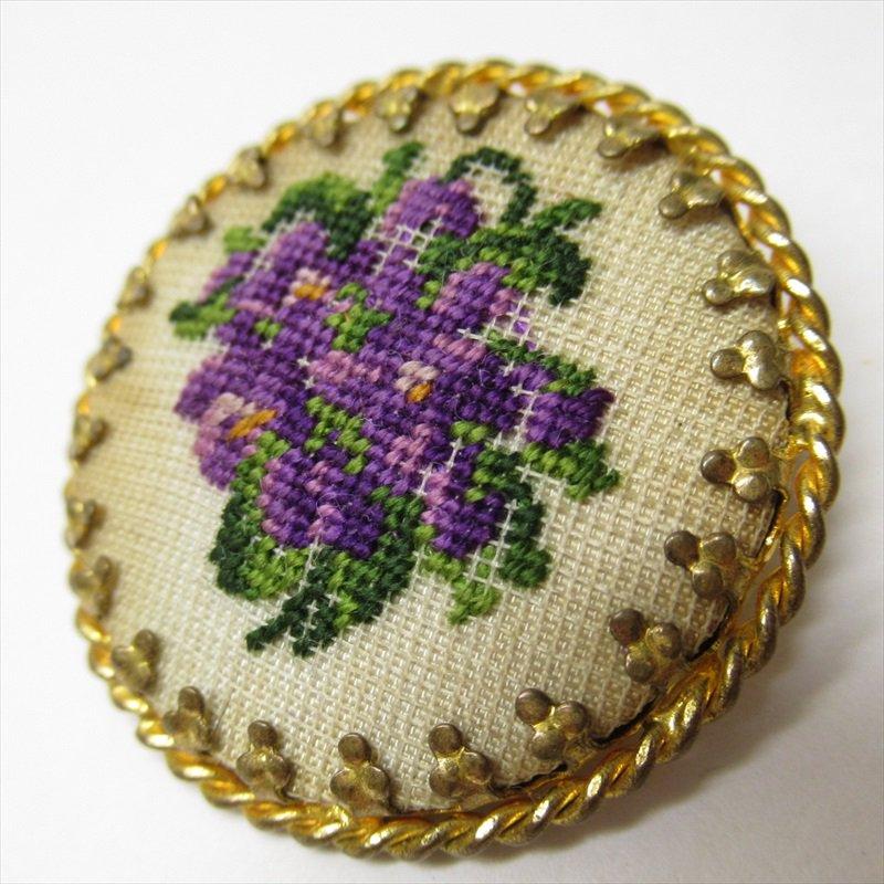 ヴィンテージアクセサリー オーストリア製スミレの刺繍ブローチ