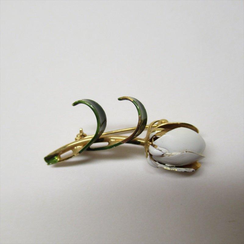 ヴィンテージアクセサリー メタル製ホワイトチューリップブローチ【画像3】