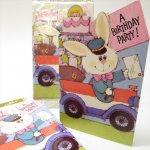 未使用  ヴィンテージカード バニーの郵便局員 Happy Birthday 未使用