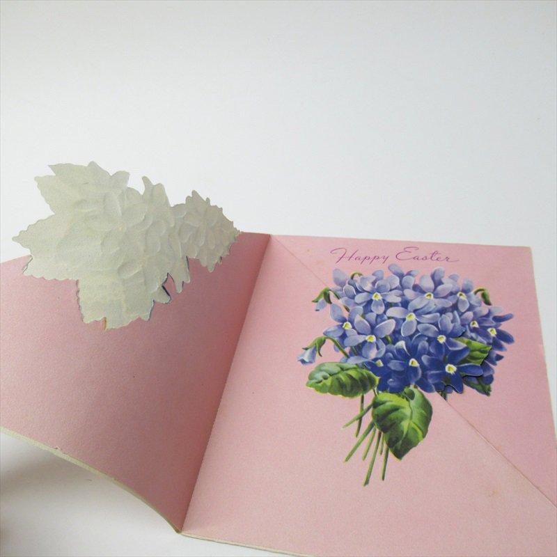 ヴィンテージカード イースター 1930年代〜50年代  3ページ スミレブーケ 使用済【画像6】