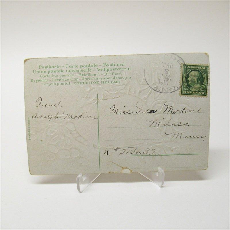 アンティークポストカード イースター 1910年 ハート【画像4】