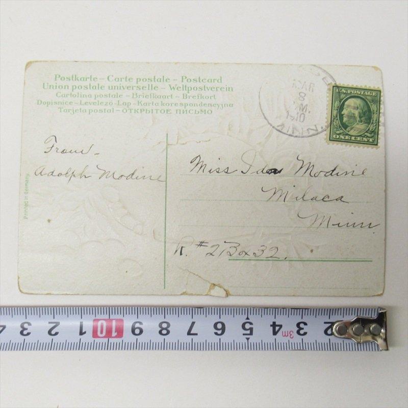 アンティークポストカード イースター 1910年 ハート【画像7】