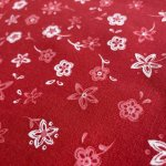 シーツ&ハンドメイド素材  ヴィンテージファブリック 赤ベースに白とピンクのお花