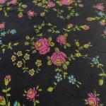 シーツ&ハンドメイド素材  ヴィンテージファブリック 黒ベースにピンクのお花はぎれ