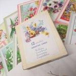 未使用  1940年〜50年代前半 未使用ヴィンテージグリーティングカード 11枚セット 封筒&箱付き