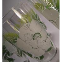 ビンテージ・ホワイトフラワー&グリーン&イエローグリーンリーフグラス