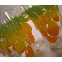 ヴィンテージグラス 緑&黄色&オレンジ フルーツ