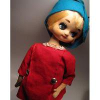 ヴィンテージ雑貨 米国輸出用日本製・昭和レトロ・青い帽子の女の子・ポーズ人形