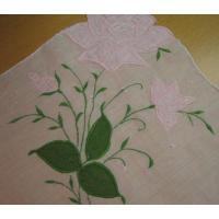 ファッション ビンテージハンカチ「ホワイト&ピンクフラワー刺繍」