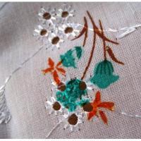 シーツ&ハンドメイド素材 ビンテージファブリック「レーシーホワイト&オレンジフラワー刺繍」
