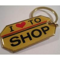 ファッション ビンテージキーホルダー「I Love to shop」メタル