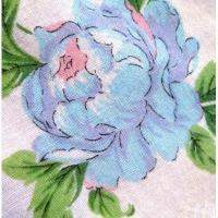 ファッション ビンテージ・ブルー&ピンク小花ハンカチ