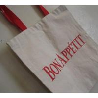 トートバッグ ビンテージ・コットン製「bon Appetit」トートバッグ