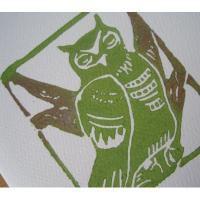 ローカルアーティスト ハンドメイド・Moon Tea Artwork「みどりのふくろうさん」シルクスクリーンカード