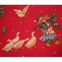 ファブリック ビンテージ・クリスマスはぎれ「レッドベース&エルフ&あひるちゃん」