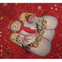 ファブリック ビンテージ・クリスマスはぎれ「レッドベース・カントリー雪だるま」
