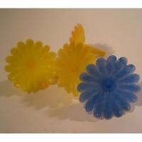 リビング ビンテージ「ブルー&イエローフラワー」4個セットキャンドルホルダー
