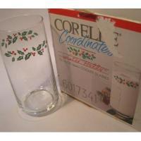 アメリカンミルクグラスブランド デッドストック・未使用・コレール・クリスマスひいらぎトールグラス