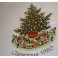 欧州&東欧キッチン・リビングアイテム 西ドイツ製・1980年クリスマス・Bavaria(ババリア)・プレート・24カラットゴールドリム