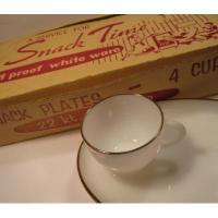 アメリカンミルクグラスブランド デッドストック箱付・フェデラル「Snack Time」22Kゴールドリム・スナックセット4客入り
