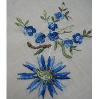 ファッション ビンテージ・ハンカチ「ブルーフラワー刺繍」【A】