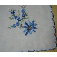ファッション ビンテージ・ハンカチ「ブルーフラワー刺繍」【B】