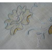 ファッション ビンテージ・ハンカチ「グレーフラワー刺繍」