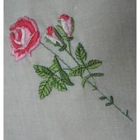 ハンカチ ビンテージ・ハンカチ「レッドローズ刺繍」
