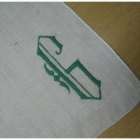 ハンカチ ビンテージ・ハンカチ「グリーン<G>刺繍」