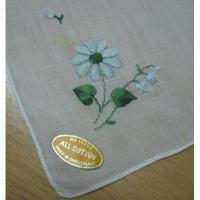 ハンカチ ビンテージ・ハンカチ「オリジナルラベル付き・ブルーマーガレット刺繍」