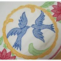 キッチン&リビング ビンテージ・キッチンリネン「青い鳥2羽&赤いお花」