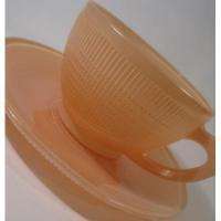 カナダ製・ドミニオングラス・Saguenay Pattern Depression Glass・ピンクC&S【A】