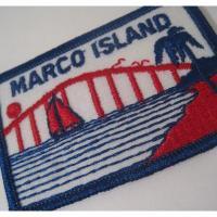 ハンドメイド用タグ&パッチ&アップリケ&ワッペン ビンテージワッペン「Marco Island・海とヨット・レッド」