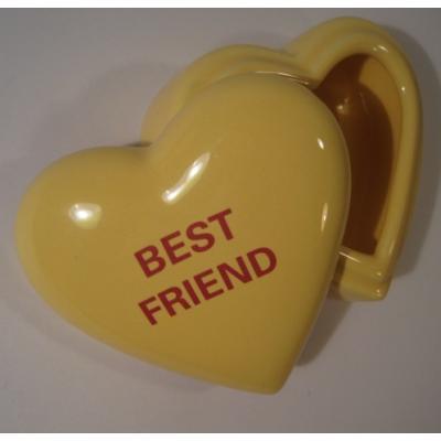 ジャンク雑貨 「BEST FRIEND」イエローハート・キャンディハーツ・バレンタイン・陶器製小物入れ
