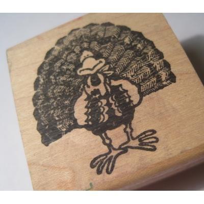 オーナメント&デコレーション ビンテージ木製&ラバースタンプ「七面鳥・サンクスギビング(感謝祭)」