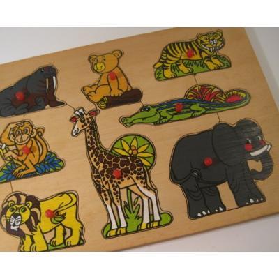 トランプ・パズル・ゲーム・塗り絵・ステンシルなど ビンテージキッズ用パズル「木製・アニマル8ピース」