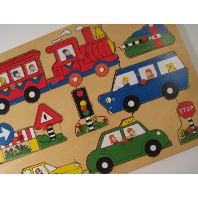 トランプ・パズル・ゲーム・塗り絵・ステンシルなど ビンテージキッズ用パズル「木製・乗り物10ピース」