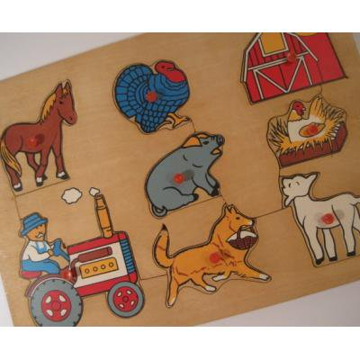 トランプ・パズル・ゲーム・塗り絵・ステンシルなど ビンテージキッズ用パズル「木製・ファームハウス8ピース」