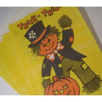 ラッピングペーパー・ギフトバッグなど ビンテージ・ハロウィンお菓子用「Trick or Treat・お人形とパンプキン」ペーパーバッグ12枚セット