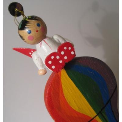ビンテージ木製・クリスマス用オーナメント「気球にのった水玉エンジェル」
