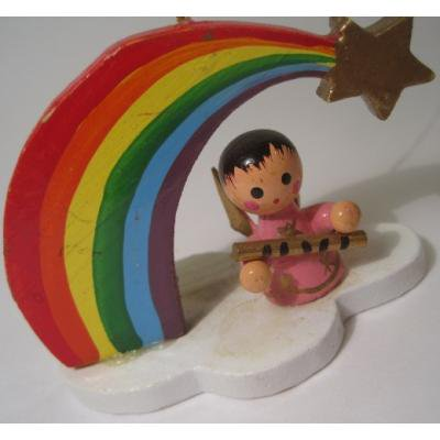 ビンテージ木製・クリスマス用オーナメント「レインボーと笛を吹く天使」