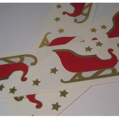 ジャンク雑貨 アメリカ製シール「赤いクリスマスのそり」