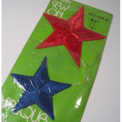ハンドメイド用タグ&パッチ&アップリケ&ワッペン 未使用・デッドストック・ビンテージソーイングアイテム「2色の星」ワッペン