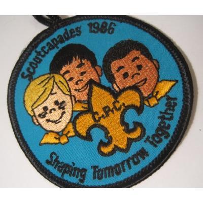 ハンドメイド用タグ&パッチ&アップリケ&ワッペン ビンテージソーイングアイテム「Scoutcapades 1986」ワッペン