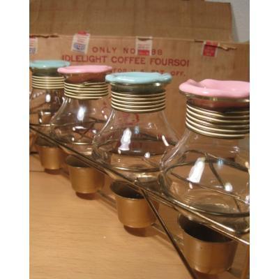 キッチン&リビング ボックス付・Karoff ・コーヒーカラフェ・ピンク&アクアブルートップ4点セット・キャンドルウォーマー付