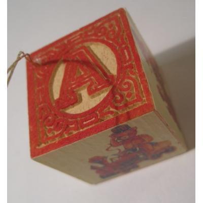 クリスマス ビンテージクリスマスオーナメント「木製アルファベットブロック&テディベア」