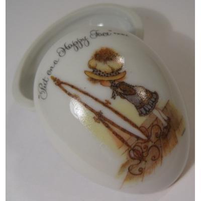 ジャンク雑貨 米国輸出用日本製ホーリーホビー陶器製・エッグ型ジュエルケース