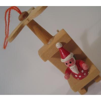 ビンテージクリスマスオーナメント「ヘリコプターに乗るサンタ」