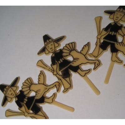 オーナメント&デコレーション ビンテージ・プラスチック製ケーキデコレーション「サンクスギビング・清教徒と狩」3個セット